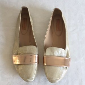 Reed Karloff gold metallic loafers